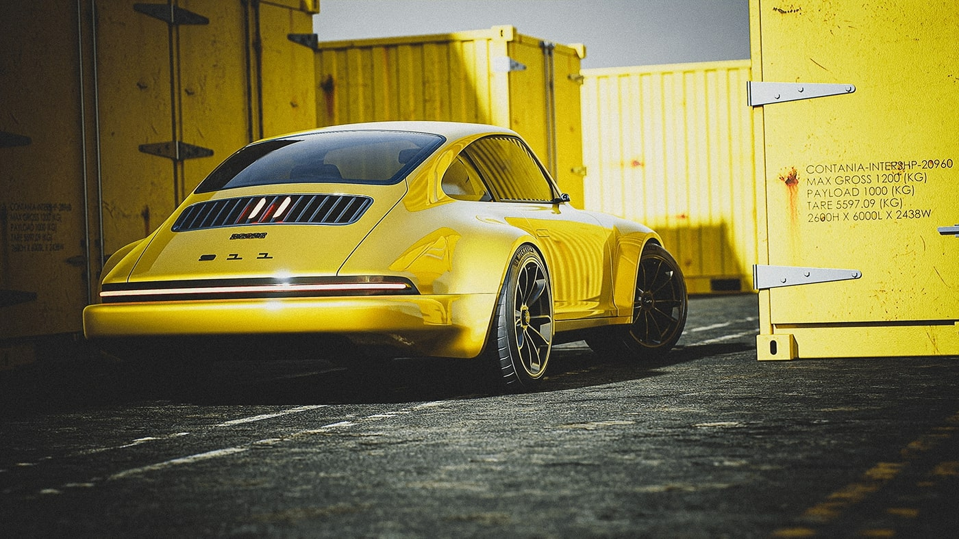 photo of Electric Porsche 911 Rendered With 930 Influences image