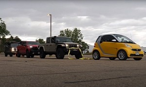 Electric smart Tries to Tow Jeep Gladiator, Chevy Silverado, Ford F-250. At Once