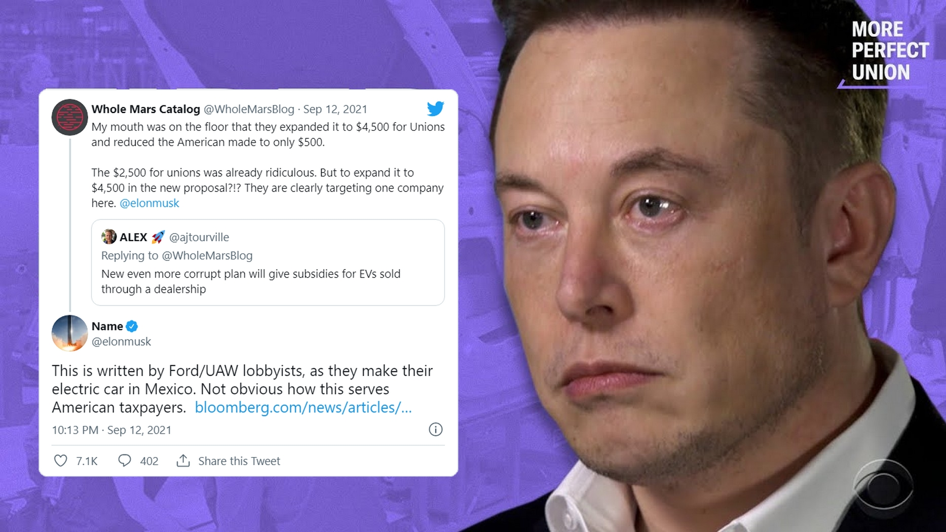 Elon Musk Accuses Ford and UAW Lobbyists of Writing EV Incentives Proposal
