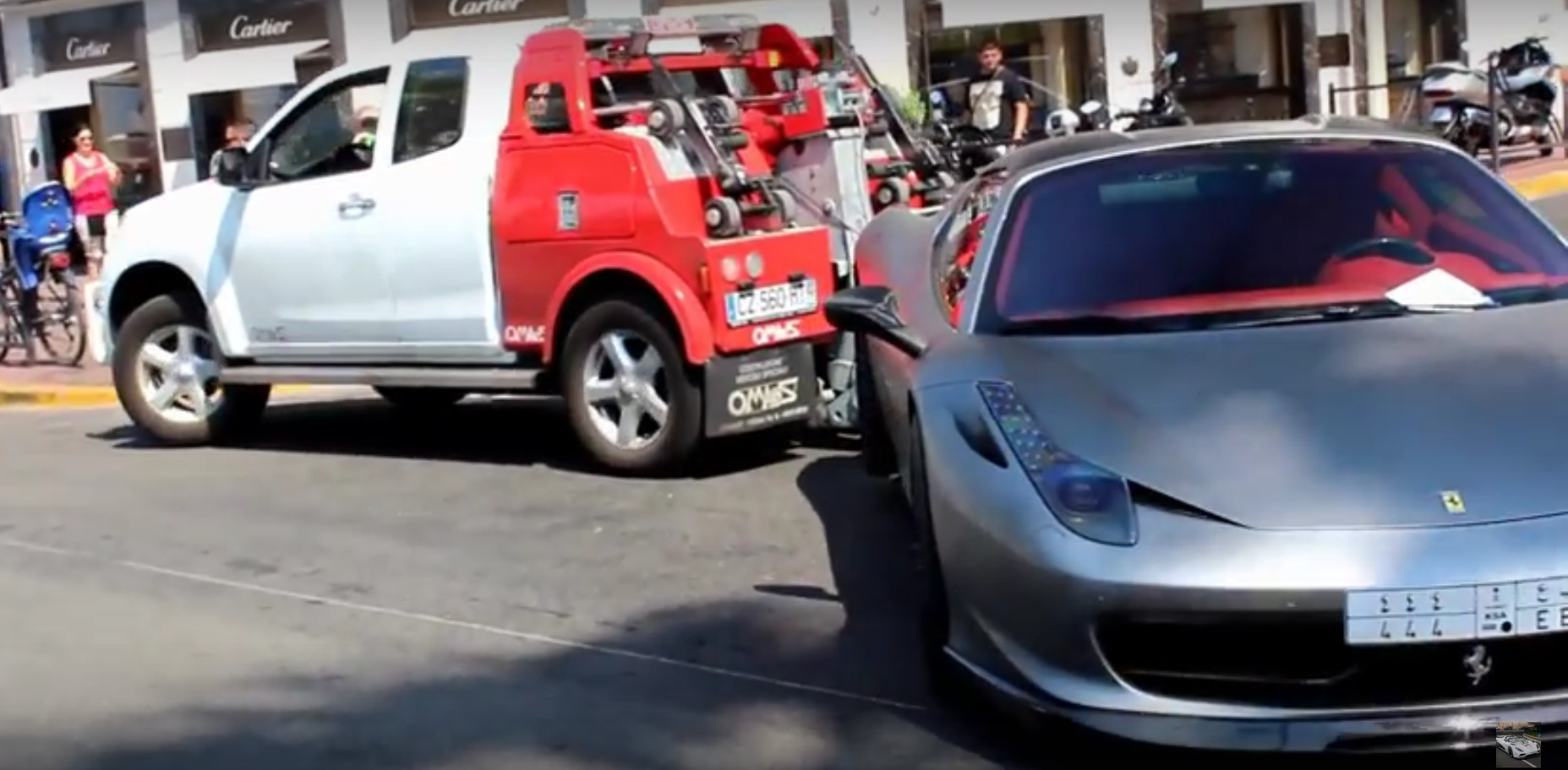 Embarrassing arab ferrari 458 by hamann gets towed by for Police cannes