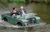 Arthur Goddard in a pre-production Land Rover from 1948 being driven through Packington Ford - the original test route used by Rover Engineers