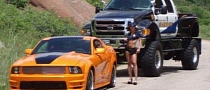 Epic: Ford SuperTruck Police Girl Pulls Over a Mustang