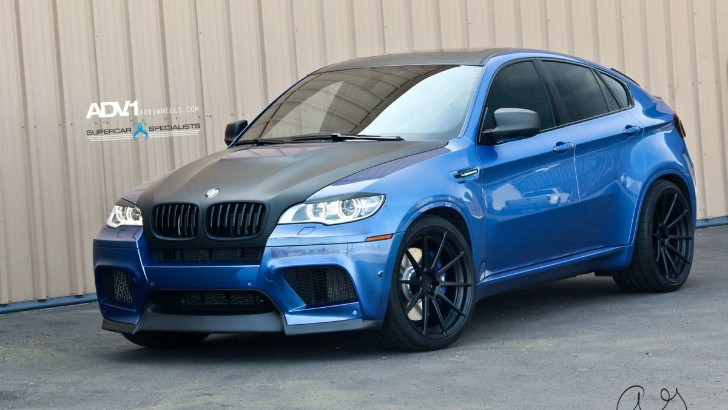 Estoril Blue BMW E72 X6 M Rides on Black ADV.1 Wheels