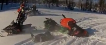 Extremely Stupid Snowmobile Accident Causes Broken Bones [Video]