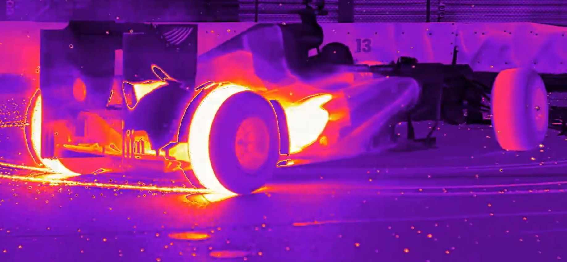 F1 Car Doing Donuts, the Thermal Camera Hot View ...