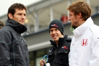 Mark Webber, Sebastian Vettel and Jenson Button