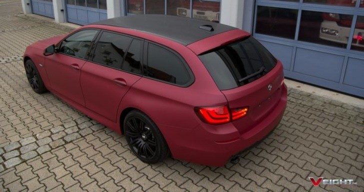 F11 BMW 5-Series Touring Wrapped in Cherry Red [Photo Gallery]