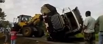Fail: Bulldozer Rescues Fallen Tipper Truck [Video]