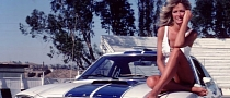 Farrah Fawcett on Charlie's Angels Mustang