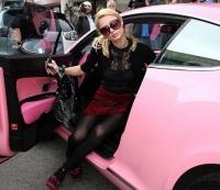 Paris Hilton in her pink Bentley