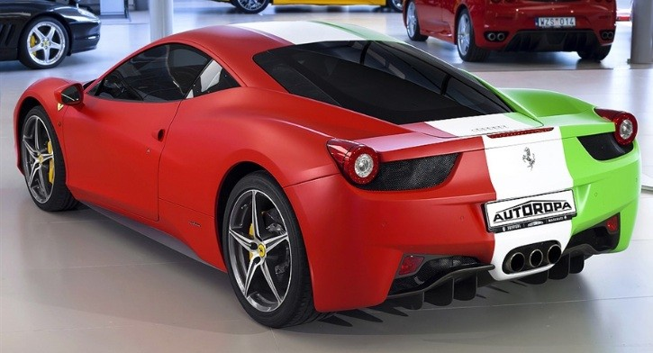 Ferrari 458 Wrapped in Italian Flag For Sale