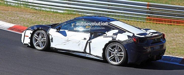 ferrari 488 gtb mule likely testing hybrid engine on the nurburgring autoevolution. Black Bedroom Furniture Sets. Home Design Ideas