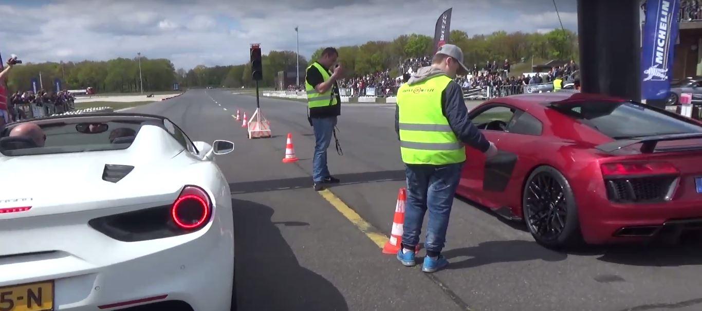 Ferrari Spider Vs Audi R V Plus Drag Race Is A Bummer - Audi r8 quarter mile
