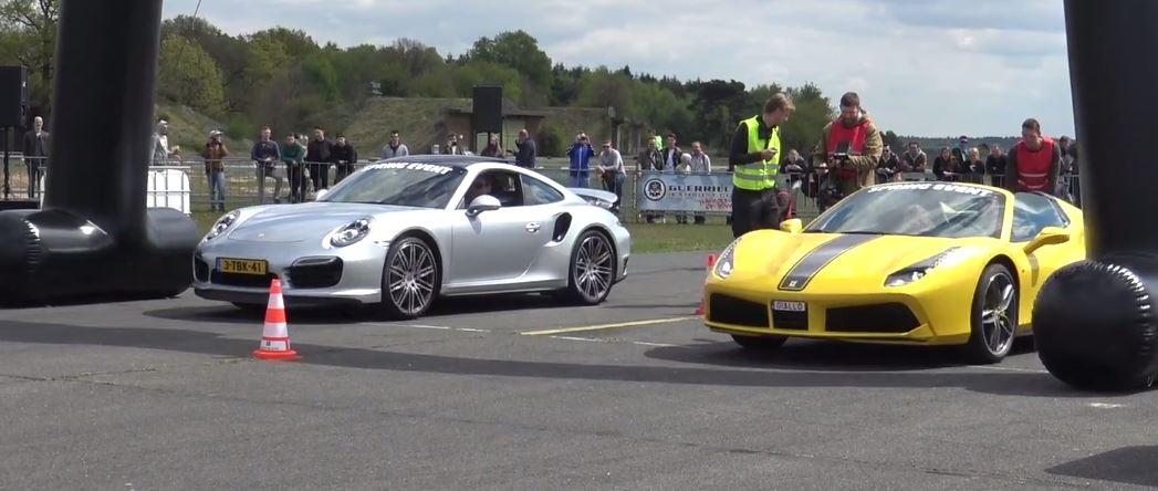 Ferrari 488 Spider Vs Porsche 911 Turbo S Drag Race Gets Strange