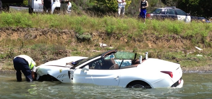Ferrari California Test Drive Crash: Water Landing