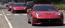 Ferrari F12 Berlineta Convoy Spotted [Video]
