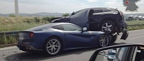 Ferrari F12 Wedges under Audi Q5 in Autobahn Crash