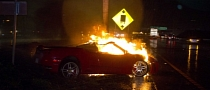 Ferrari F430 Catches Fire After Crash in Mexico