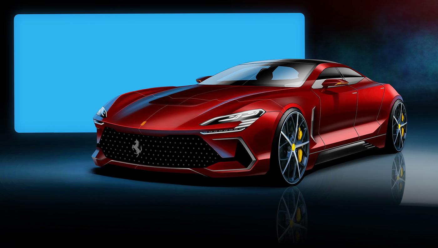 Ferrari F9 Four Door Super Sedan Rendered Rivals Porsche S Panamera Autoevolution