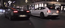 Ferrari FF Almost Crashes into a Gallardo