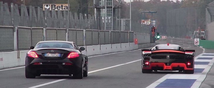 Ferrari FXX Evoluzione Can't Help but Obliterate a McLaren SLR in Sound Battle
