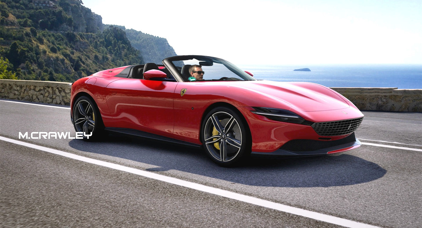 Ferrari Roma Speedster Borrows Porsche 911 Styling For Open Top Cruising Autoevolution