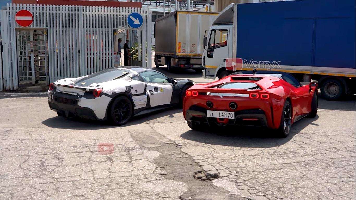 Ferrari V6 Hybrid Supercar Spied Testing Alongside Sf90 Stradale Sounds Throaty Autoevolution