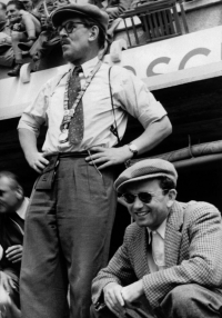Ferry Porsche (right) with Fritz Huschke von Hanstein at the Le Mans 24-hour race in 1953