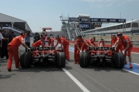 Ferrari cars in the pit lane during the 2008 Canadian Grand Prix