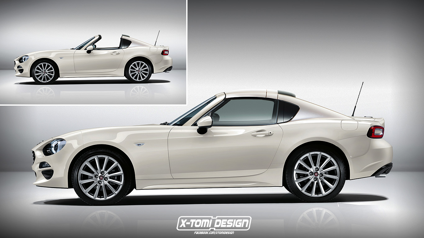 fiat 124 targa rendering is inspired by the mx 5 rf fiat 124 spider forum. Black Bedroom Furniture Sets. Home Design Ideas
