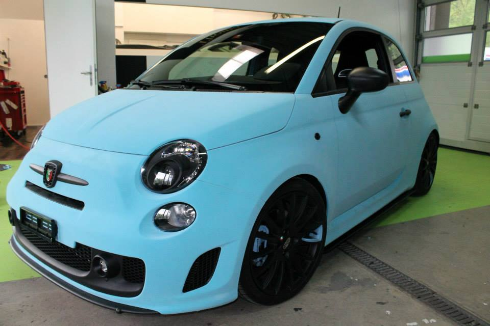 Fiat 500 Abarth Wrapped in Blue Velvet Looks Like a Smurf ...