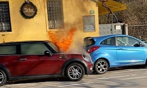 Fire Causes MINI Engine to Start, Results in Weird Crash