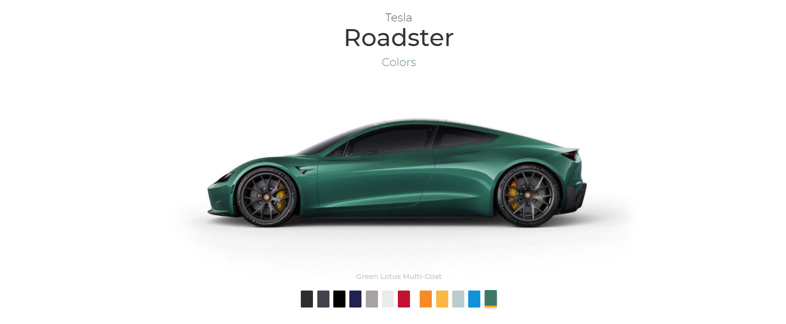 Car Paint Colors >> First Tesla Roadster Unofficial Configurator Allows You to Sample 12 Colors - autoevolution