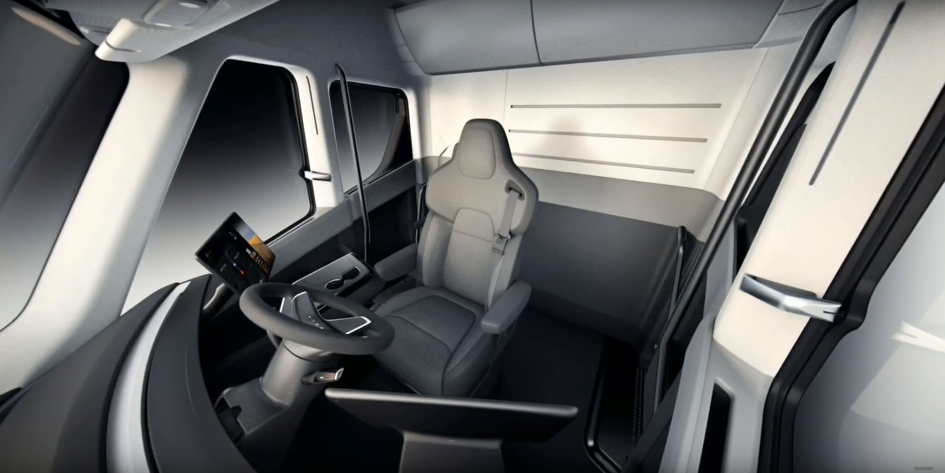 First Tesla Semi Interior Video Shows the Life of a 2020 Trucker - autoevolution