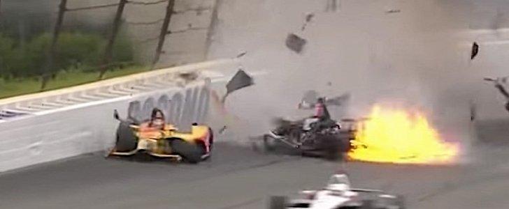 Five Car Indycar Crash At Pocono Raceway Sends Robert