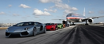 Five Lamborghini Aventador Roadsters. Airplanes. Miami [Video]