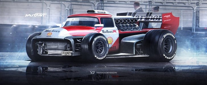 Ford F-100 Meets V12 F1 Car in Mindblowing Rendering - autoevolution
