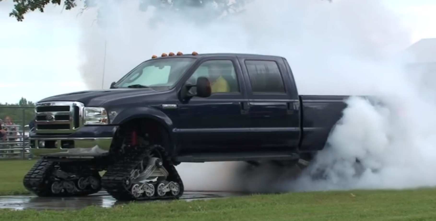 Ford F 350 On Tracks Does Burnout And Smoke Show