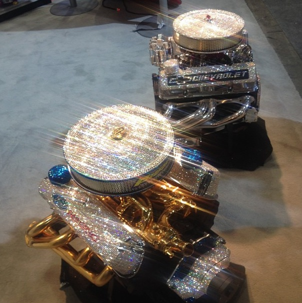 huge discount 6707c 884fc Ford Racing and Chevrolet V8 Crate Engines Get Swarovski Crystals and Gold  Bling Treatment