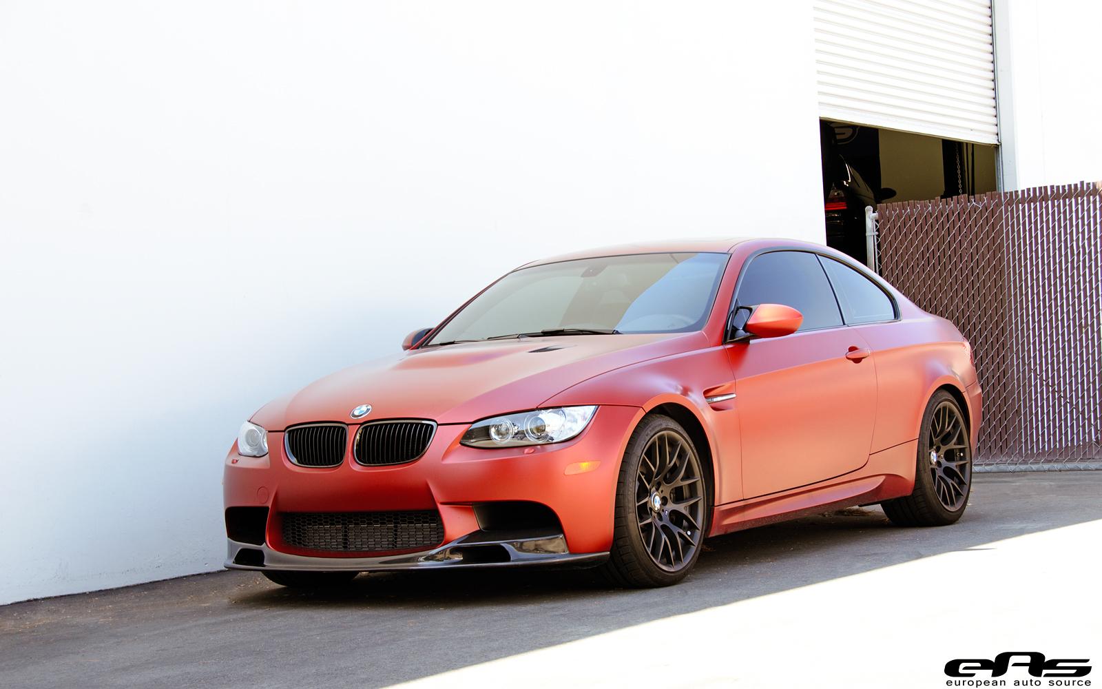Frozen red bmw e92 m3 gets carbon fiber parts at eas