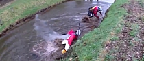 Funny Enduro Rider Crashing in Shallow Channel [Video]