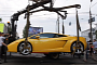 Gallardo Parked on Tram Line Is Towed in Kiev [Video]