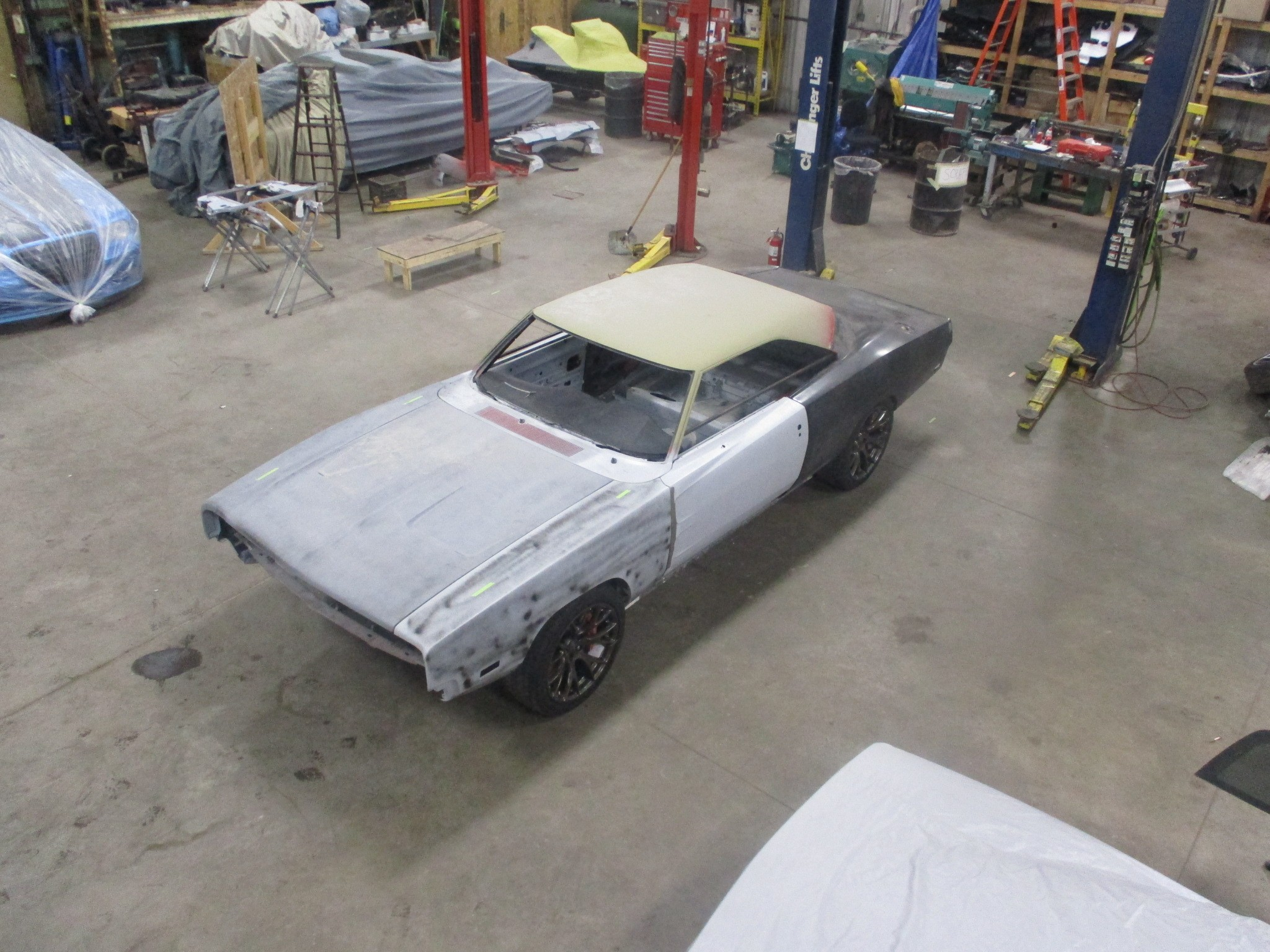 1969 Dodge Charger Body Dropped onto Challenger Hellcat ...