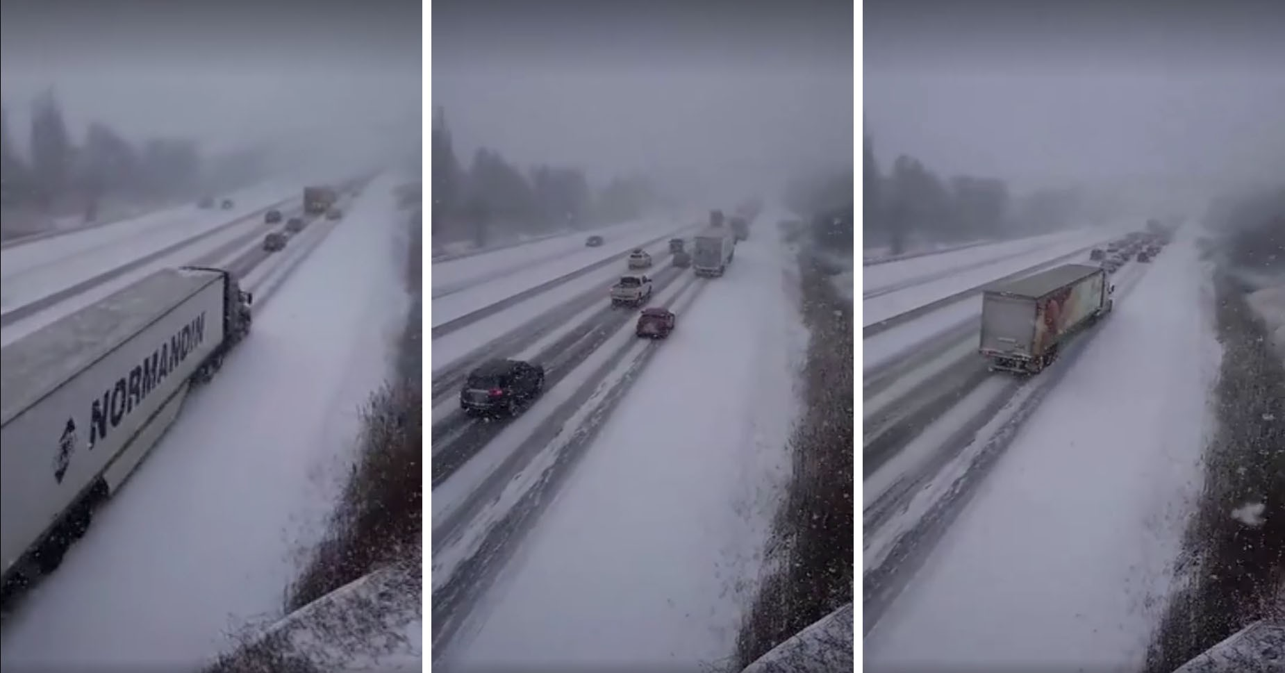 20 Car Pileup on Snowy Canadian Highway Involving a Semi Is Truly