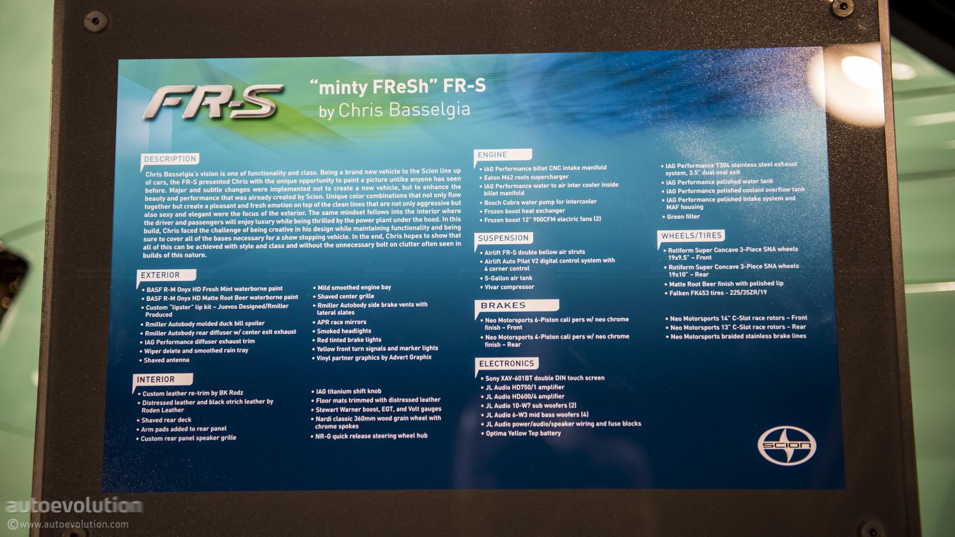 2012 Sema Minty Fresh Scion Fr S Live Photos Autoevolution 2 Jl Audio W3 Wiring