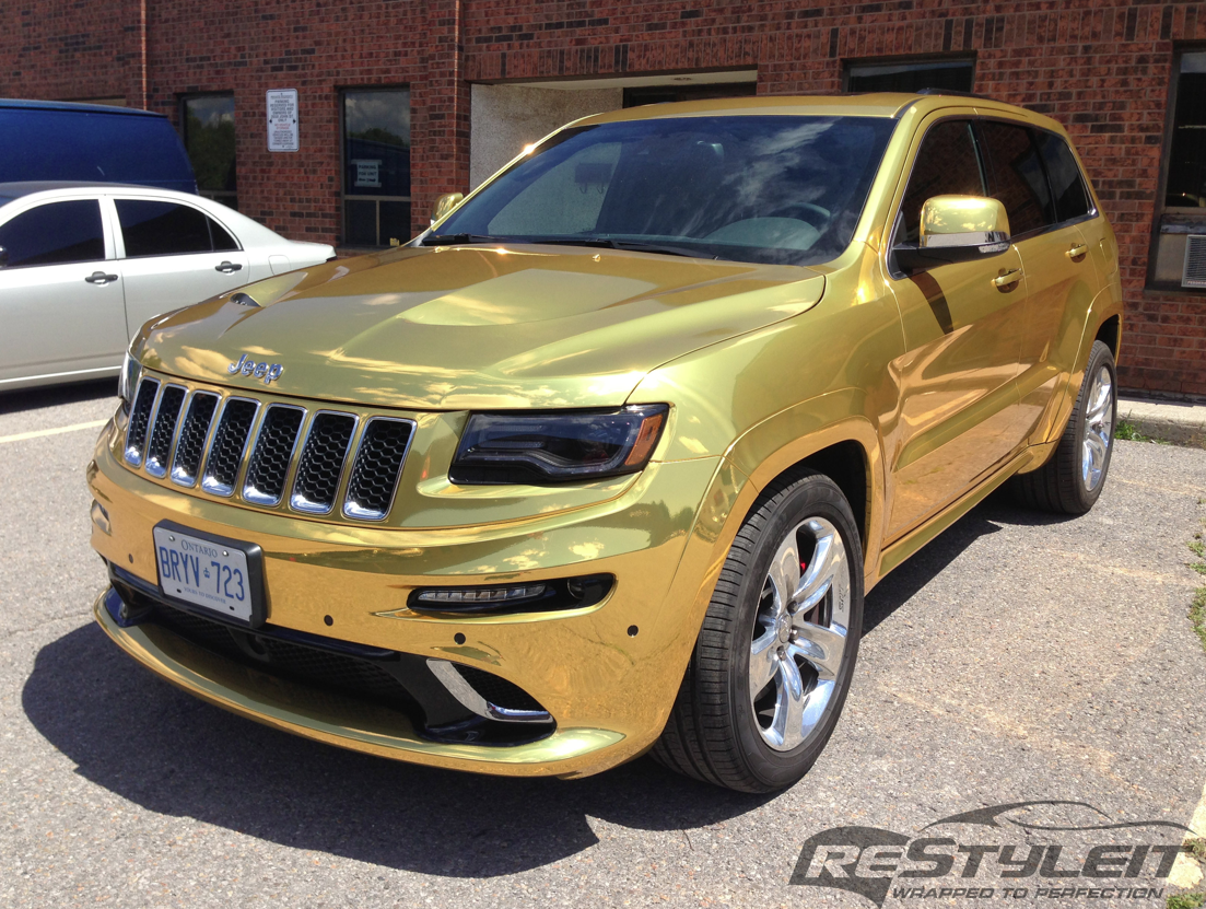 2014 Jeep Grand Cherokee Srt8 Wrapped In Gold Chrome