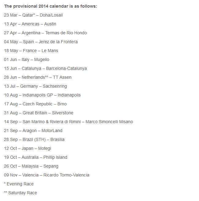 2014 Motogp Calendar Updates Autoevolution