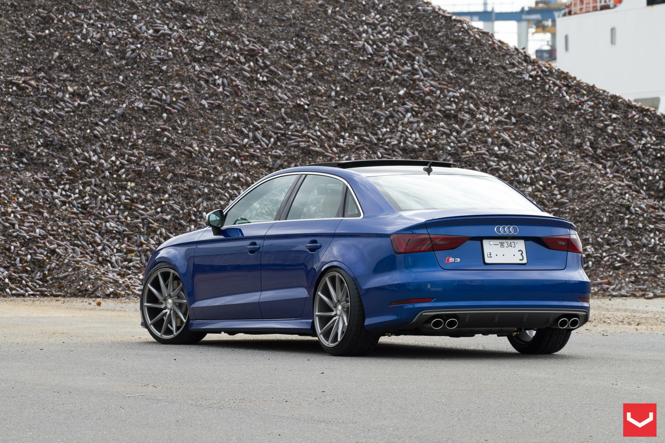 Manual Audi S3 Sedan Is Faster Than 2015 Subaru Wrx Sti Blue With White Rims Stanced On Vossen Wheels