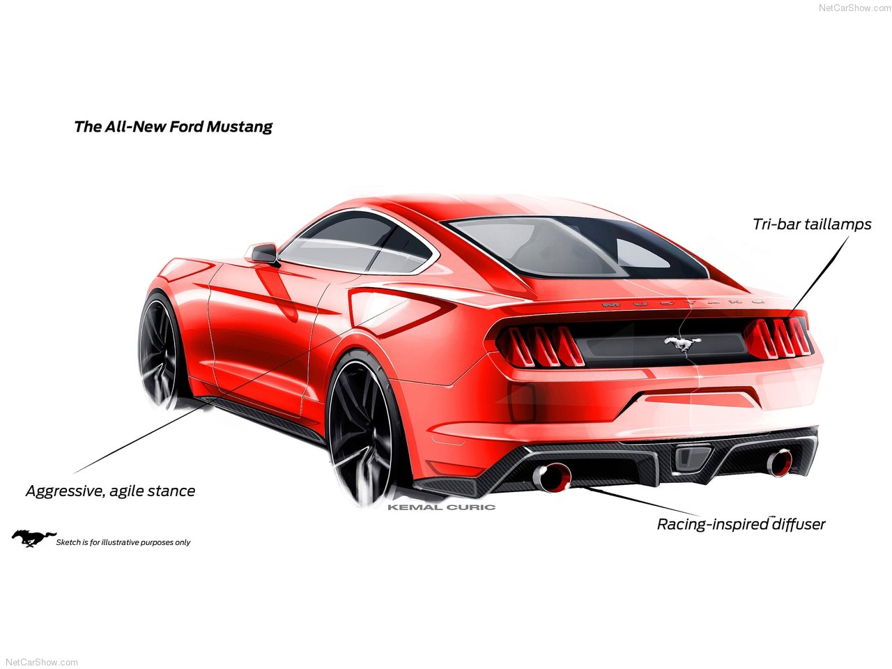2015 Ford Mustang Official Design Sketches Hit The Web Autoevolution Logo Drawings
