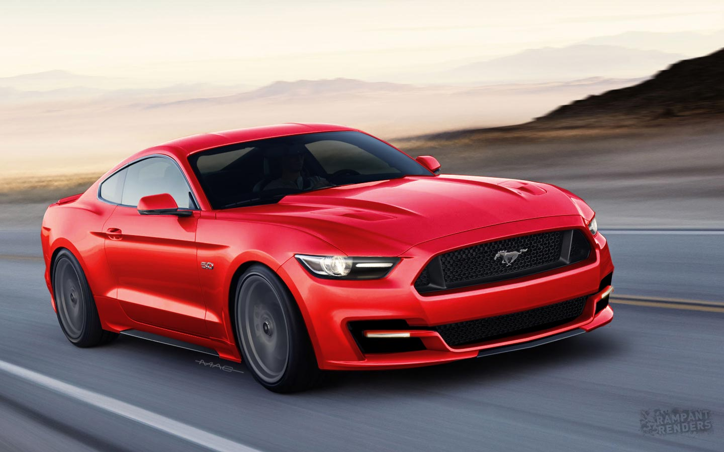 2015 ford mustang rendered with slightly different face rear. Black Bedroom Furniture Sets. Home Design Ideas